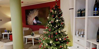 In der Lobby des Arcona Hotels Baltic Stralsund – Foto: Lena Ziehres