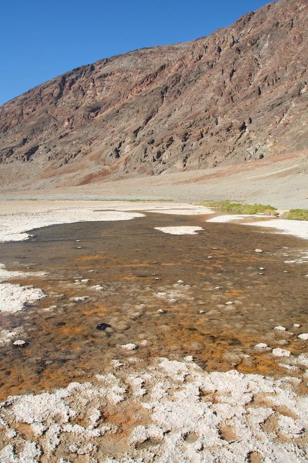 Badwater, Death Valley: Süßwasserbecken im Salzsee: Das Wasser ist verdorben – Foto: Beate Ziehres