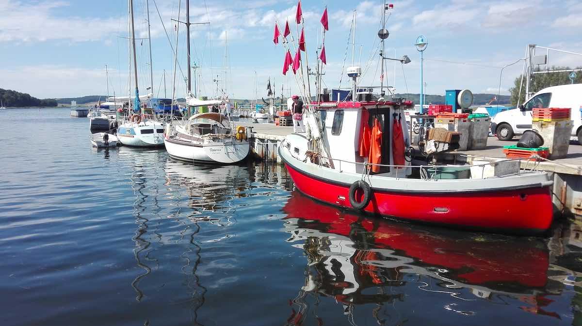 Fischer- und andere Boote am Hafen von Thiessow – Foto: Beate Ziehres