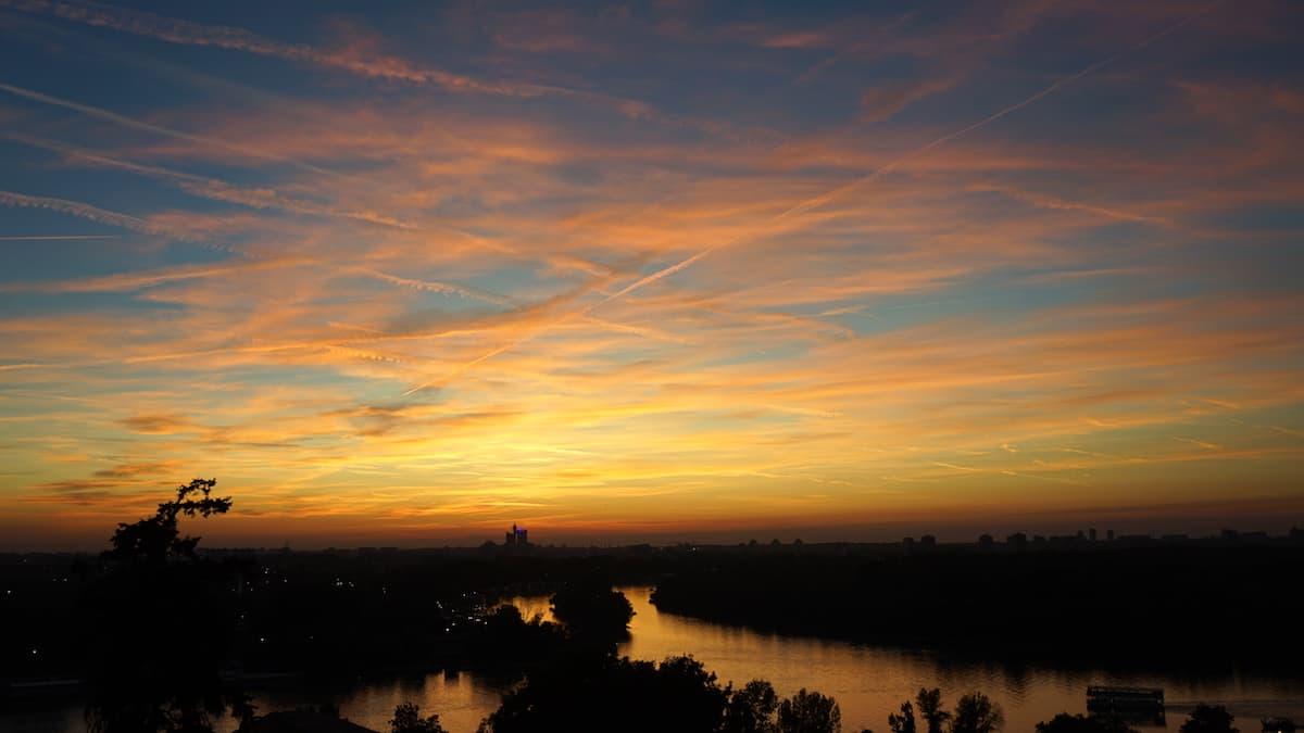 Serbien: Sonnenuntergang von der Festung Belgrad aus gesehen. Foto: Beate Ziehres