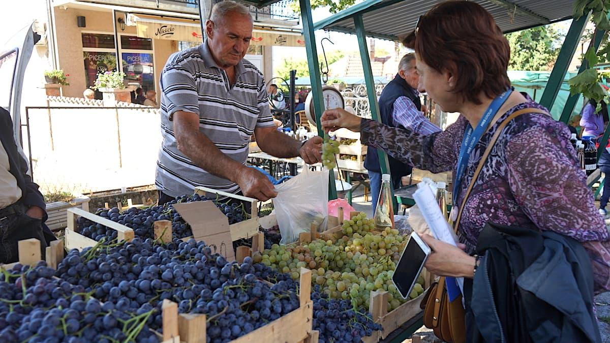 Serbische Spezialitäten: Weintrauben auf dem Topola Weinfestival, Serbien. Foto: Beate Ziehres