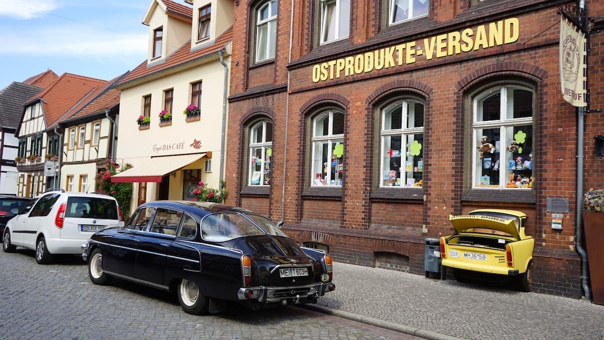 Ladengeschäft Ostprodukte-Versand in Tangermünde, Lange Straße. Foto: Beate Ziehres