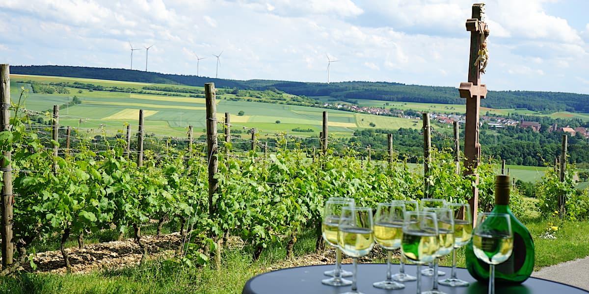 """Weinstraße Taubertal: Blick auf die Weinlage """"Hoher Herrgott"""" in Külsheim. Foto: Beate Ziehres"""