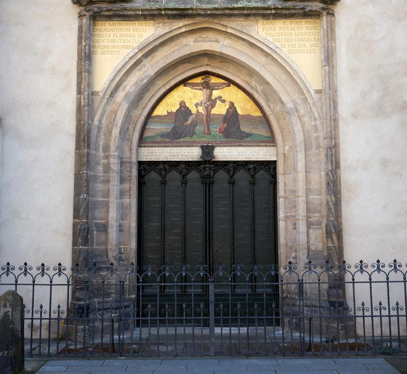Thesentür Schlosskirche Lutherstadt Wittenberg. Foto: Beate Ziehres